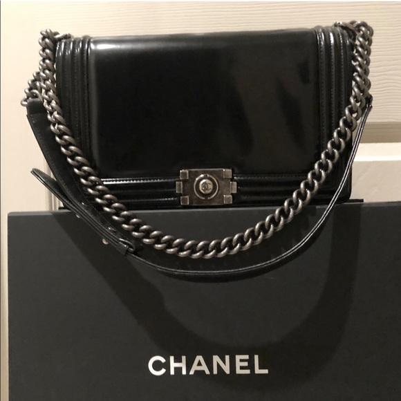 87093808418e CHANEL Handbags - CHANEL Glazed Calfskin Black medium boy bag